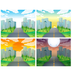 City scene with buildings and road vector