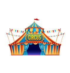 classic red yellow travel circus tent on vector image