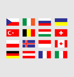 collection flags in flat design on gray background vector image