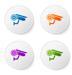 Color security camera and gear icon isolated on vector