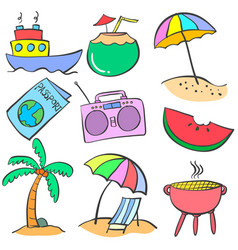 Colorful summer object doodles vector