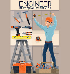 construction engineer with work tools engineering vector image
