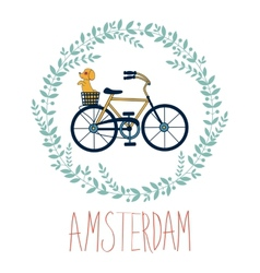 Cute amsterdam card with dog in bycicle basket in vector