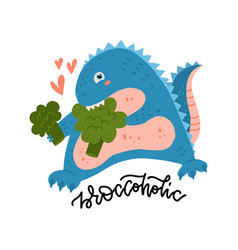 cute and smiling dinosaur biting broccoli dino vector image