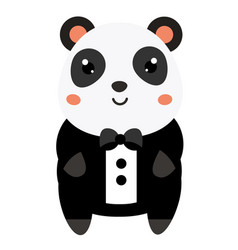 cute panda in black tuxedo cartoon kawaii animal vector image