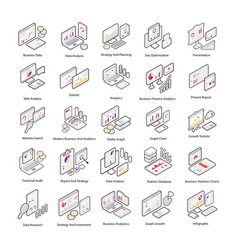 data analysis isometric icons vector image