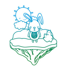 degraded line male rabbit animal in the float vector image
