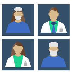 Doctors set medical object flat icon vector