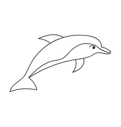 Dolphin icon in outline style isolated on white vector