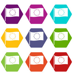 european flag icons set 9 vector image