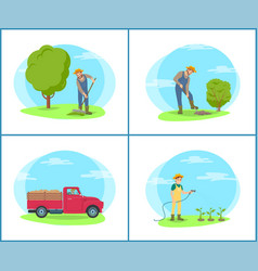 farmer on farm with tools and machinery cartoon vector image