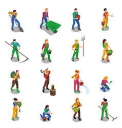 Farmers At Work Isometric Icons Set vector