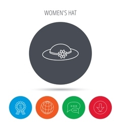 Female hat with flower icon Women headdress vector image