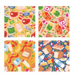 food seamless pattern meal vegetables vector image