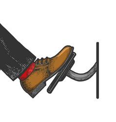 Foot presses throttle pedal sketch vector