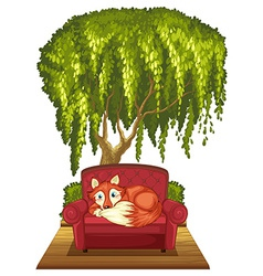 Fox on sofa vector