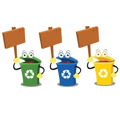 Funny recycling bins holding woodens signs vector image