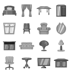 Furniture icons set black monochrome style vector image