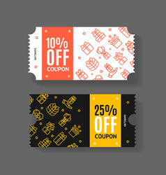 gift voucher coupon set with thin line icons vector image