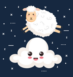 Good night sleep cartoon sheep jump cloud animal vector
