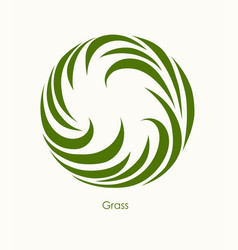 grass label abstract design round icon beautiful vector image