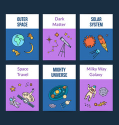 hand drawn space planet elements card vector image
