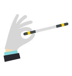Hand with magic wand icon flat style vector