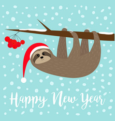 Happy new year sloth hanging on rowan rowanberry vector
