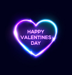 happy valentines day text in heart shape neon sign vector image