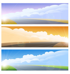 Highway road background set vector