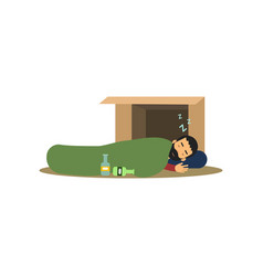 homeless man character sleeping on the street in vector image