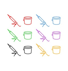 Icon Set of Sealer and Bucket vector