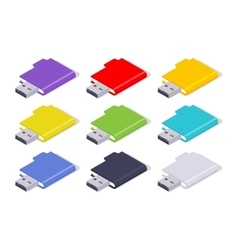 Isometric colored USB flash-drives vector image