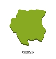 Isometric map of Suriname detailed vector