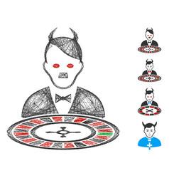 Linear hitler devil roulette croupier mesh vector