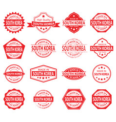 made in south korea label set on white background vector image