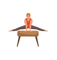 Male gymnast doing exercise on pommel horse vector