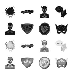 Man mask cloak and other web icon in black vector
