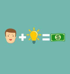 man plus idea is equal to money vector image