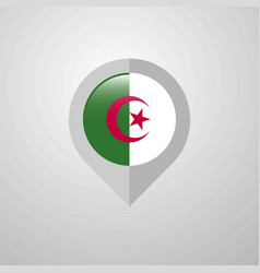 map navigation pointer with alegeria flag design vector image