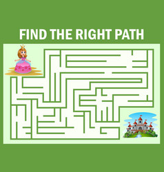 Maze game find a princess way to castle vector