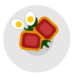 meatloaf with eggs on white background vector image