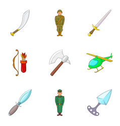 Military intervention icons set cartoon style vector