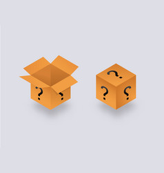 Mysterious secret box open and closed isometry vector