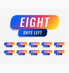 number of days left marketing banner design vector image