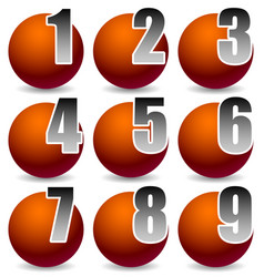 numbering elements from 1 to 9 numbers cut in vector image