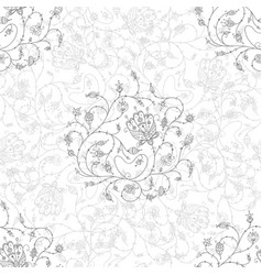 ornate flowers seamless pattern grey vector image