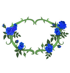 oval frame thorns and blue roses isolated vector image