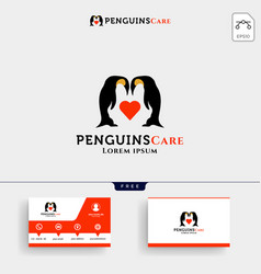 Penguins care love and parenting logo template vector