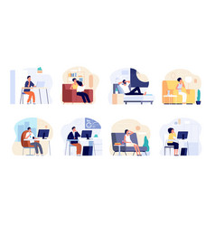 people dreaming dreamy man think work or home vector image